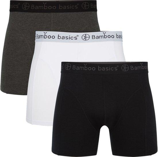ce896b77237 Bamboo Basics Heren Bamboe Boxershort Rico - 3-pack – Grijs/Wit/Zwart