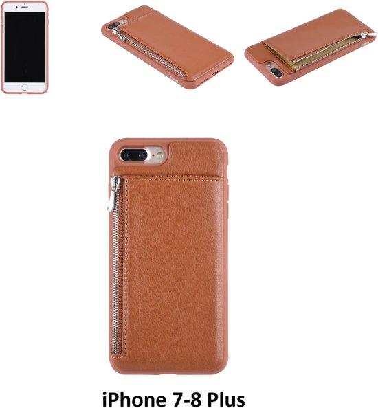 Apple Bruin pasjeshouder Backcover hoesje voor iPhone 7-8 Plus