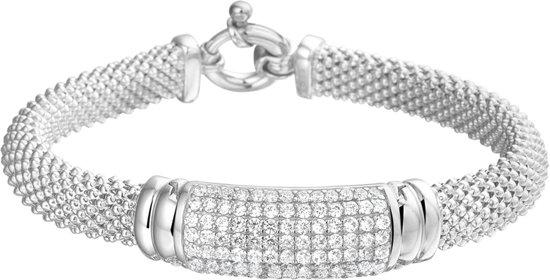 The Jewelry Collection Armband Zirkonia 12 mm 19 cm - Zilver Gerhodineerd