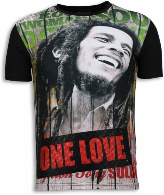 Local Fanatic Bob Marley One Love - Digital Rhinestone T-shirt - Zwart - Maten: S