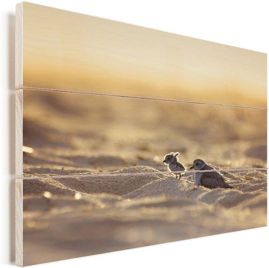 Een dwergplevier verlaat het nest van zijn moeder en strekt zijn vleugels uit Vurenhout met planken 120x80 cm - Foto print op Hout (Wanddecoratie)