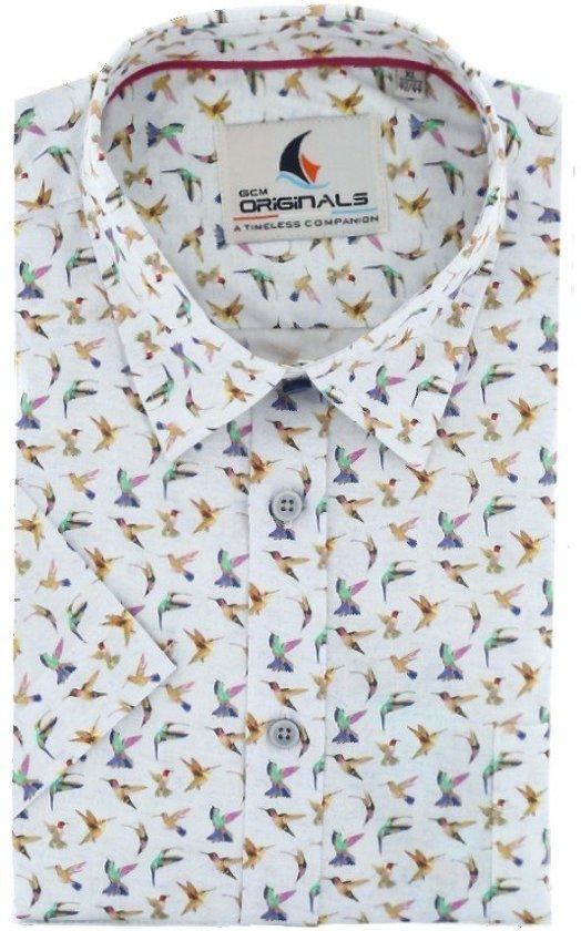 Gcm Originals regular fit overhemd korte mouw bird wit roze, maat XXL