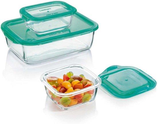 Luminarc Keep 'n Box vershoudbak glas - groen - Set-3