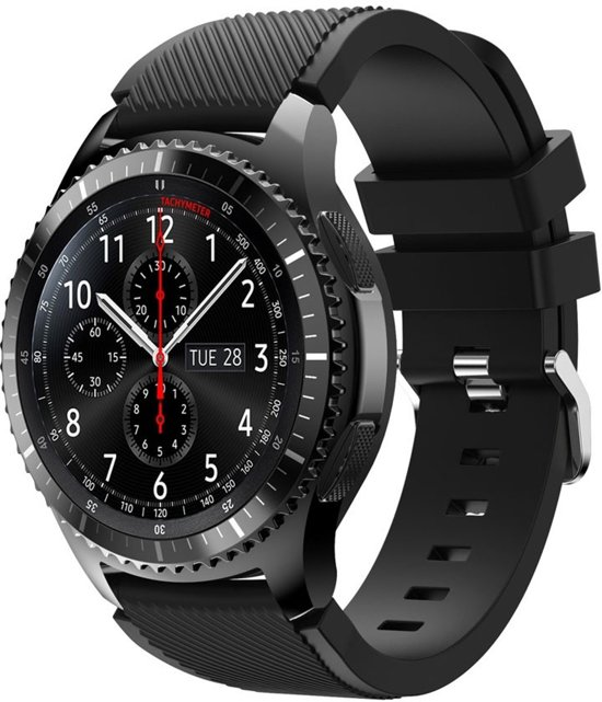 Siliconen Horloge Band Voor Samsung Gear S3 Classic / Frontier Armband Polsband - Large/Small - Zwart