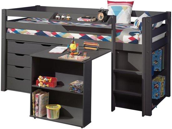 bol.com | Halfhoogslaper Charlotte taupe met bureau, boekenkast en ...