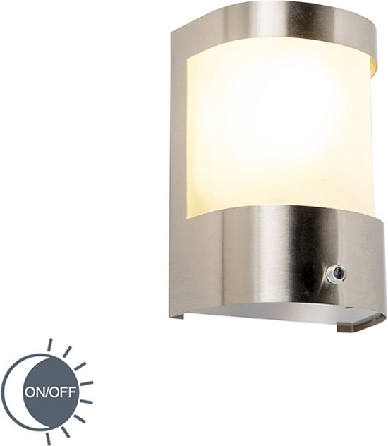 QAZQA WL Mira 3 staal - Buitenlamp met sensor/bewegingsmelder - 1 lichts - D 100 mm - staal