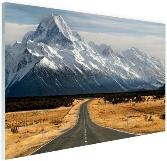 Weg naar Mount Cook Nieuw Zeeland Glas 30x20 cm - Foto print op Glas (Plexiglas wanddecoratie)