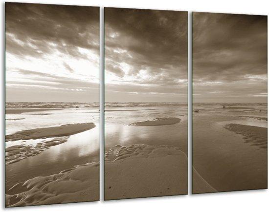 Glas schilderij Zee   Sepia   120x80cm 3Luik   Foto print op Glas    F006384