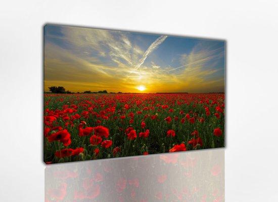 Zonsondergang 80x50 cm, Canvas schilderij uitgerekt op het frame, 100% katoen, Wanddecoratie