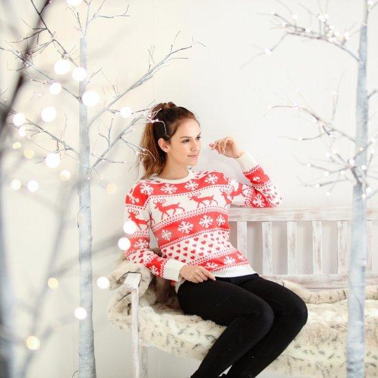 Dames kersttrui met nordic patroon rood/wit S (36)