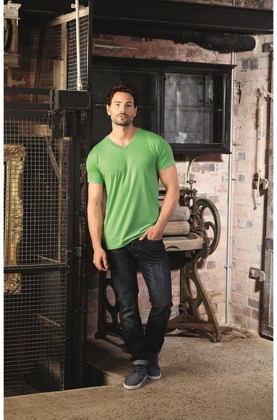 Basic V-hals t-shirt vintage washed lime voor heren - Herenkleding t-shirt groen L (40/52)