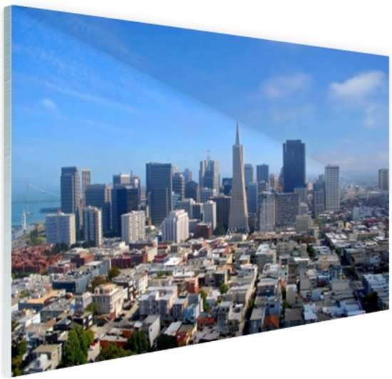 Luchtfoto van San Fransisco Glas 60x40 cm - Foto print op Glas (Plexiglas wanddecoratie)