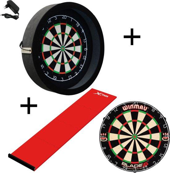Dragon - Sorpresa PRO - Complete PRO - zwart-rood - winmau blade 5 - xq-dartmat - dartbord verlichting