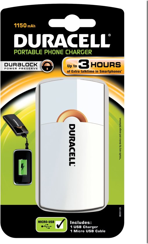 Duracell 3 uurs mobiele oplader - Wit - 1150 mAh