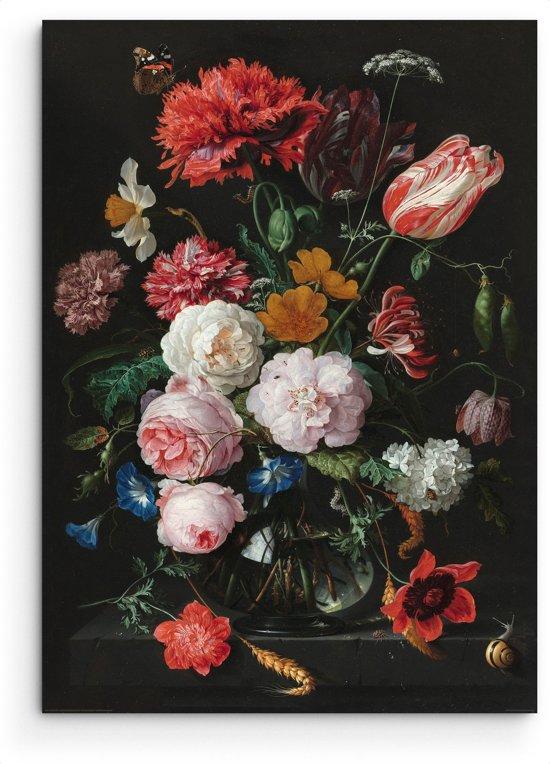 Jan Davidsz de Heem - Stilleven met bloemen in vaas - oude meesters - gouden eeuw - rijksmuseum- Schilderij 60 x 90 cm