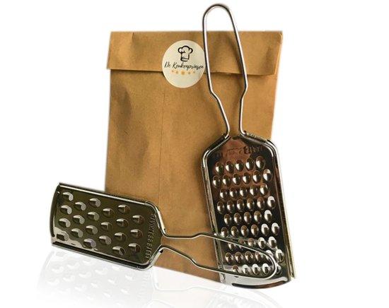 Rasps   set van 2   1 fijne en 1 grove rasp   RVS   groenten, fruit en kaas   handige handrasp voor in de keuken of op reis