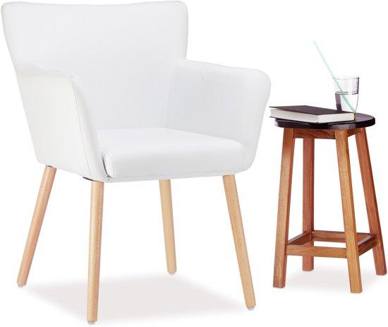 Fauteuil Wit Stof.Bol Com Relaxdays Fauteuil Design Zetel Modern Eetkamerstoel