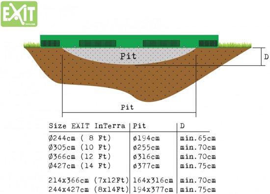 EXIT InTerra Trampoline - 244 cm - Grijs