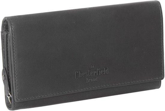 ce6f875ff47 Chesterfield Overslag Leren dames portemonnee met ritsvak Francis XL Zwart