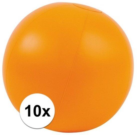 10x Opblaasbare strandbal oranje 30 cm