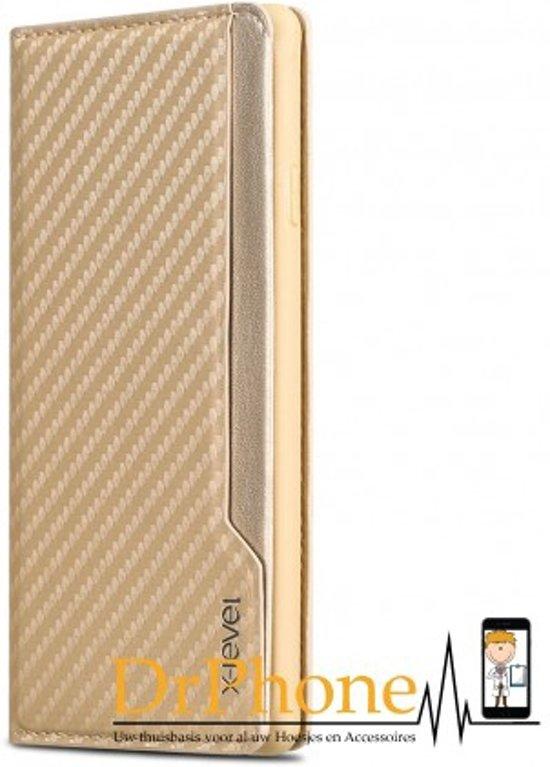 iPhone 7+ plus X-Level Wallet Serie 2 Carbon Style Portemonnee Case - Goud in Eldrik