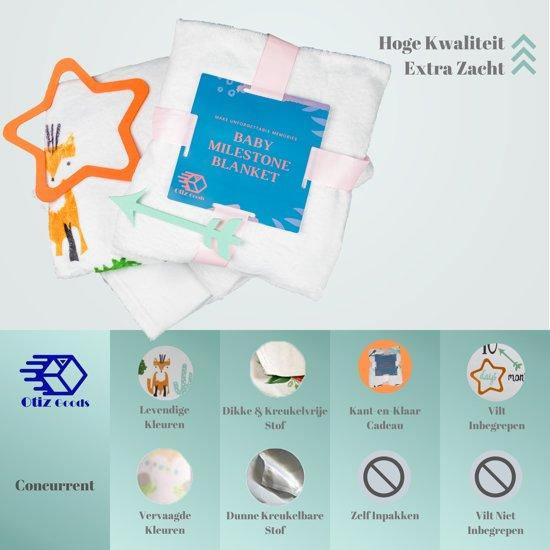 Milestone Blanket Fox - Babyshower Fleece Deken - Kraamcadeau Pasgeboren Kindje - Giftset Foto Deken - Baby Speel Deken - Otiz Goods