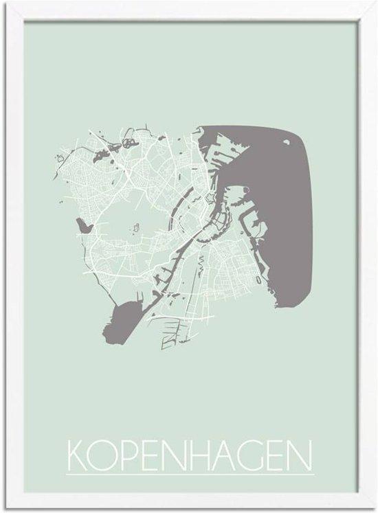 Plattegrond Kopenhagen Stadskaart poster DesignClaud - Pastel Groen - A4 + fotolijst wit