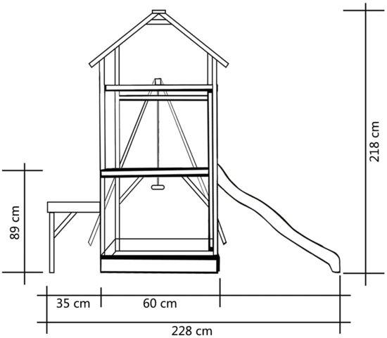 vidaXL Speelhuis met glijbaan en schommel 228x168x218cm FSC grenenhout
