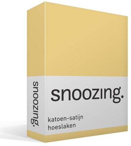 Snoozing - Katoen-satijn - Hoeslaken - Tweepersoons - 150x200 cm - Geel