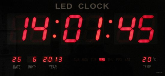 led klok led number clock 47 x 23 cm met. Black Bedroom Furniture Sets. Home Design Ideas