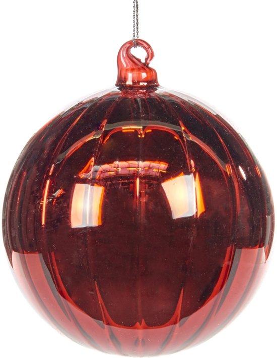 Bol Com Rode Glazen Kerstbal Met Verticale Strepen 10cm 4 Stuks
