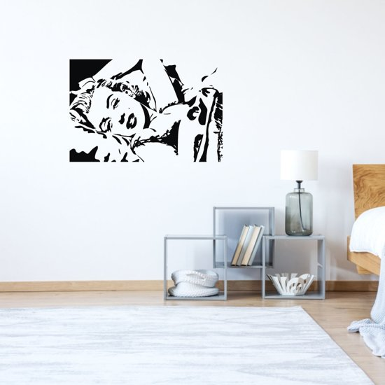 Muursticker Marilyn Monroe -  Geel -  160 x 107 cm  - Muursticker4Sale