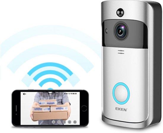 Deurbel Met Camera.Eken V5 Video Deurbel Inclusief 8gb Sd Kaart Zilver