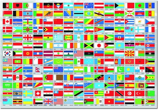 Educa vlaggen van de wereld 1500 stukjes - Vloerlamp van de wereld ...