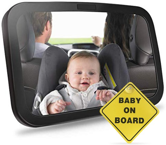 Baby autospiegel - Verstelbare autospiegel - XL - Zwart - Veiligheidsbord met zuignap - Baby on Board - Extra veiligheid
