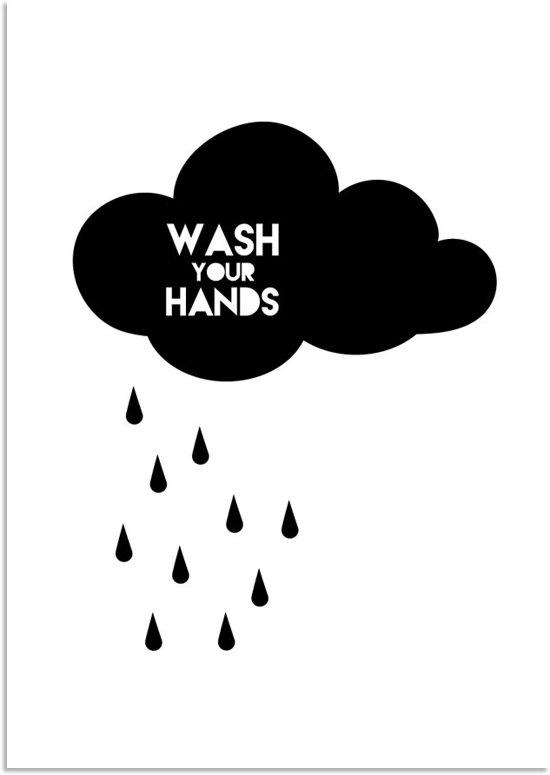 bol | badkamer poster - kinderkamer - zwart wit poster - wolk, Deco ideeën