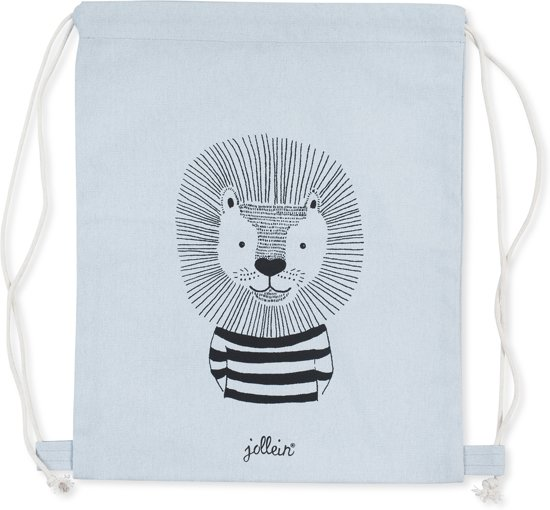 Jollein Wild animals Rugtasje 30x35cm canvas soft blue
