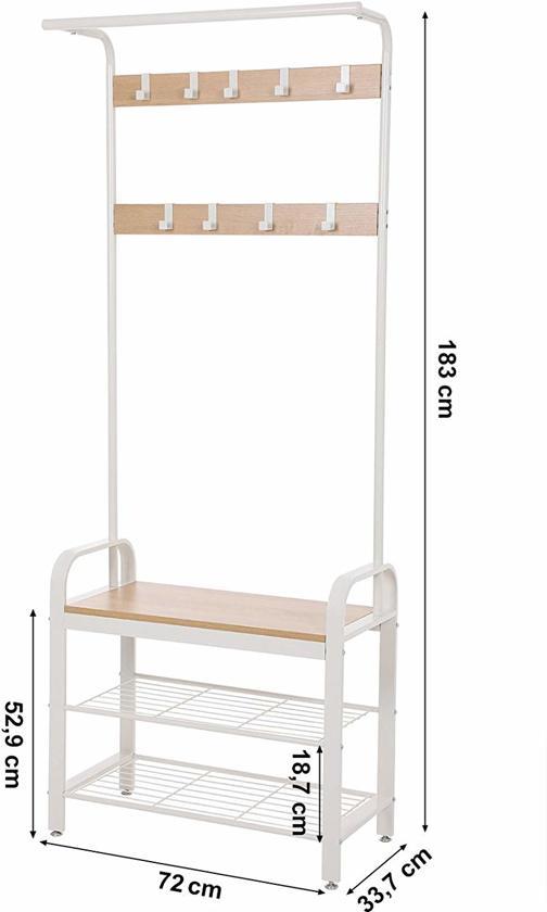Garderoberek met Schoenenrek – Metaal / Hout - Wit