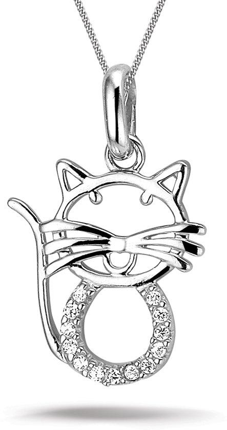 Montebello ketting Cat - Dames - Zilver Gerhodineerd - Poes - Zirkonia - 15 x 22 mm - 45 cm