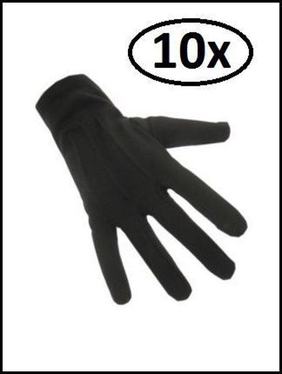 10x Paar handschoenen katoen kort zwart luxe mt.M - Sinterklaas feest Pieten handschoen winter