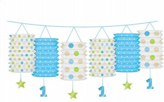 slingers 1 jaar bol.  1 jaar versiering lantaarn slinger blauw / lime   eerste  slingers 1 jaar