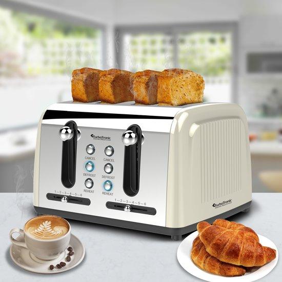 TurboTronic TT-BL7 Elektrisch Broodrooster Crème