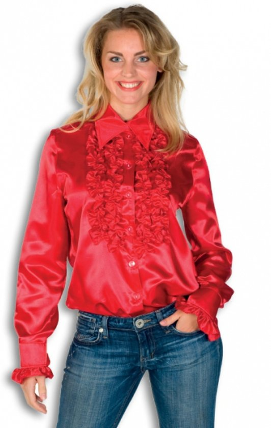 Rouches blouse rood dames 40 (l)