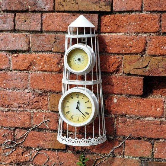 Vuurtoren met klok en thermometer - set van 2 stuks