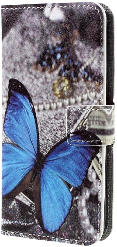 Knaldeals.com - Asus Zenfone 4 Max 5.5 ZC554KL hoesje - Book Wallet Case - Blue Butterfly in Kruispolderhaven