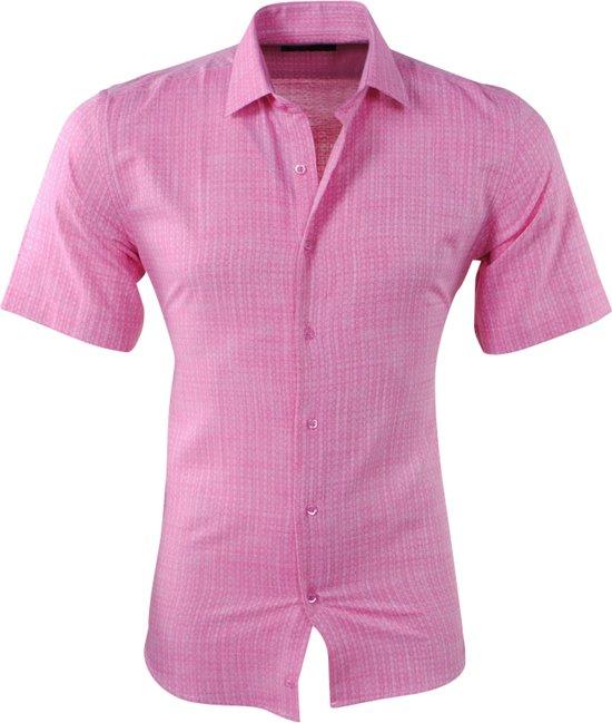 Roze Overhemd Heren Korte Mouw.Bol Com Pradz Heren Korte Mouw Overhemd Met Trendy Design Slim