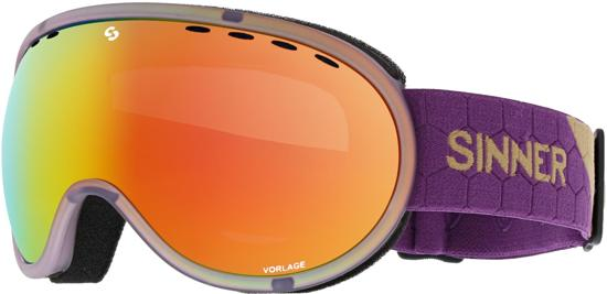 Sinner Vorlage Unisex Skibril - Transparent Purple - Double Full Red Mirror