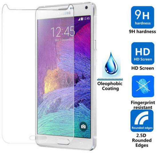 2 Stuks Pack glazen Screen protector Tempered Glass 2.5D 9H (0.3mm) Samsung Galaxy Note 4