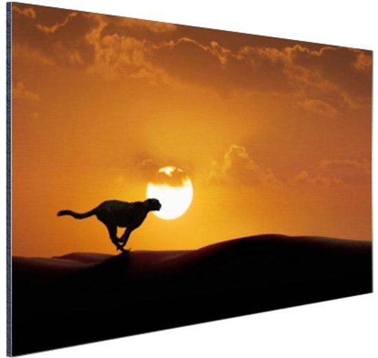 Silhouet rennende luipaard Aluminium 90x60 cm - Foto print op Aluminium (metaal wanddecoratie)