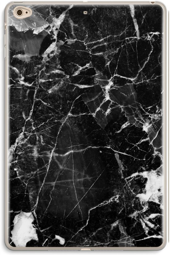 iPad Mini 4 Transparant Hoesje (Soft) - Zwart Marmer 2